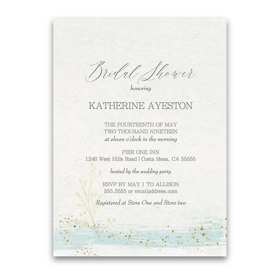 Mint and Gold Bridal Shower Invitations