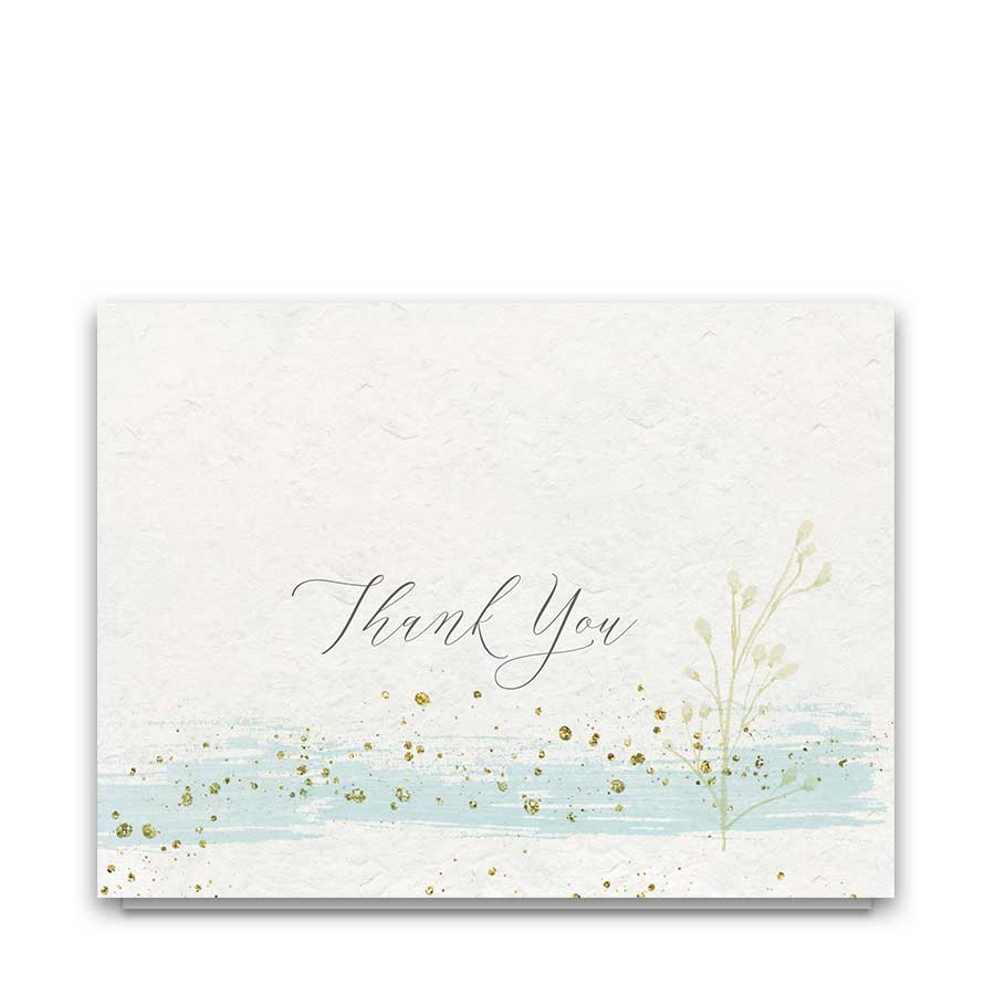 Wedding Thank You cards Mint Gold Watercolor Modern Sparkle