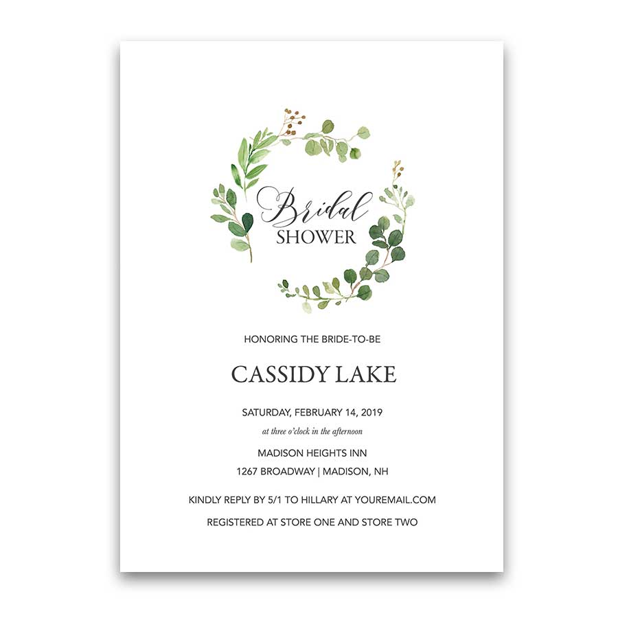 greenery bridal shower invitations eucalyptus wreath