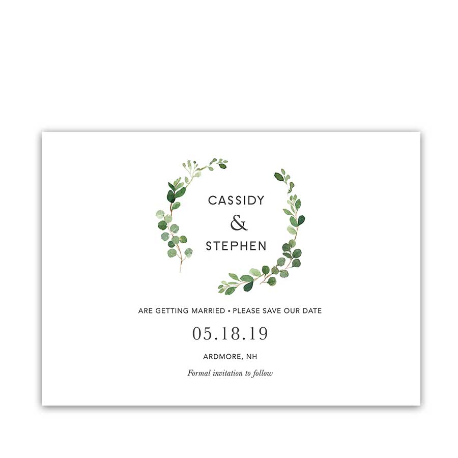 Greenery Eucalyptus Wreath Save the Date Wedding Cards