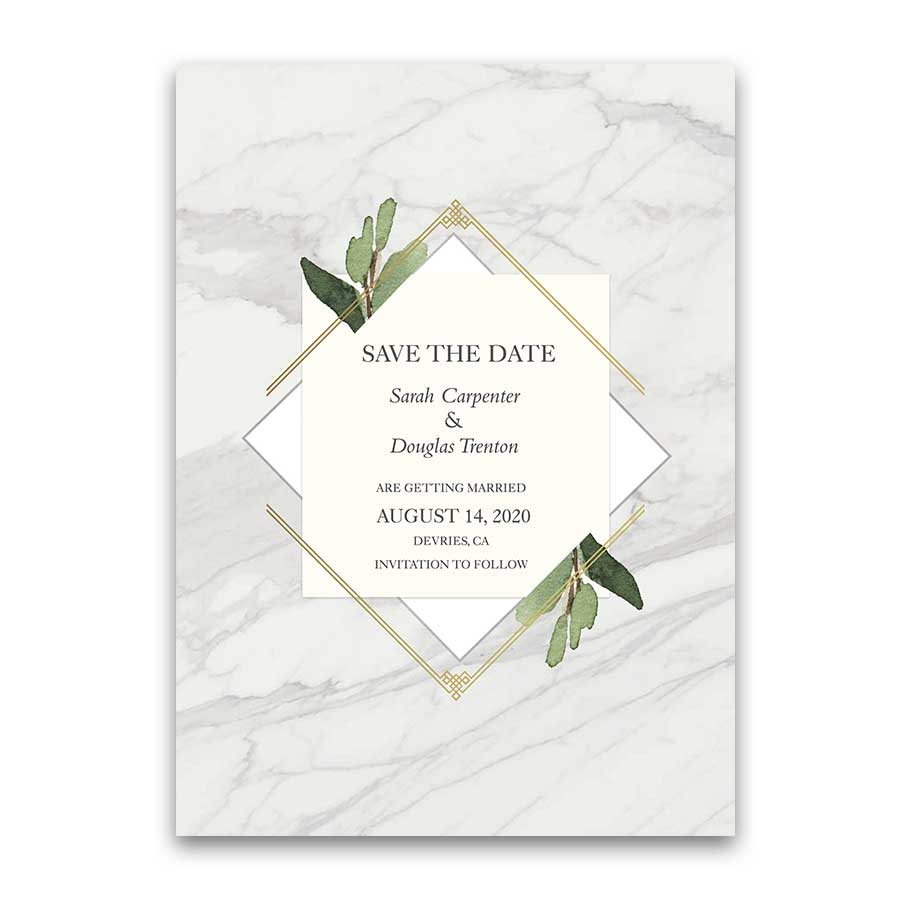 Geometric Save the Date Cards Gold Diamond Marble Greenery
