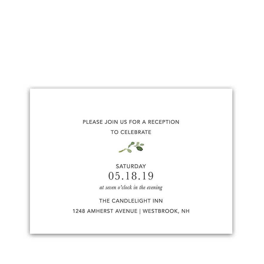 Greenery Wedding Invitation Reception Details Card