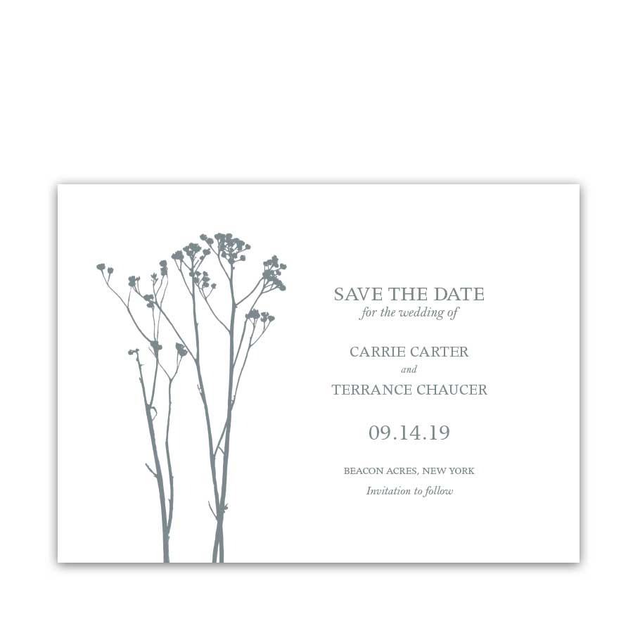 Boho Floral Wedding Save the Date Card Pale Blue Floral