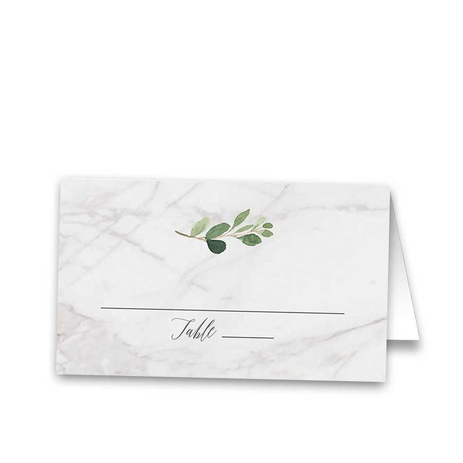 Wedding Seating Place Cards Marble and Greenery Theme