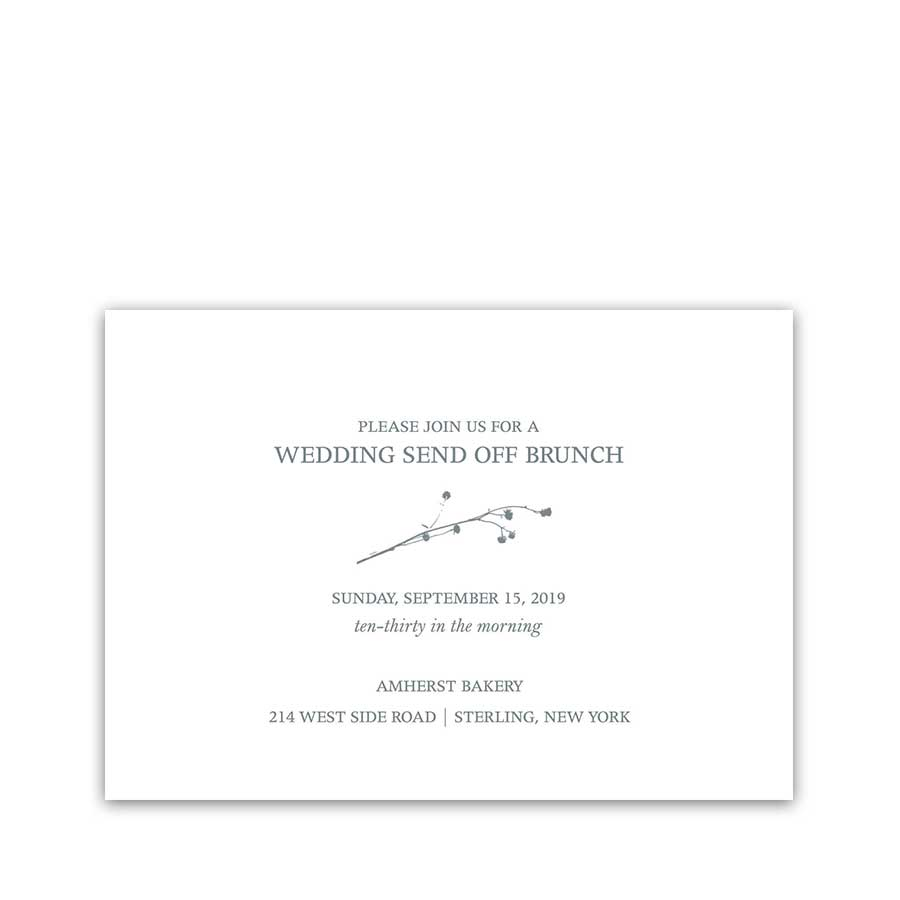 Wedding Reception Details Card Greenery Branches Blue
