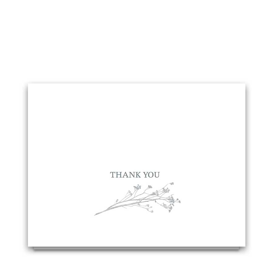 Modern Wedding Thank You Cards Greenery Floral Pale Blue
