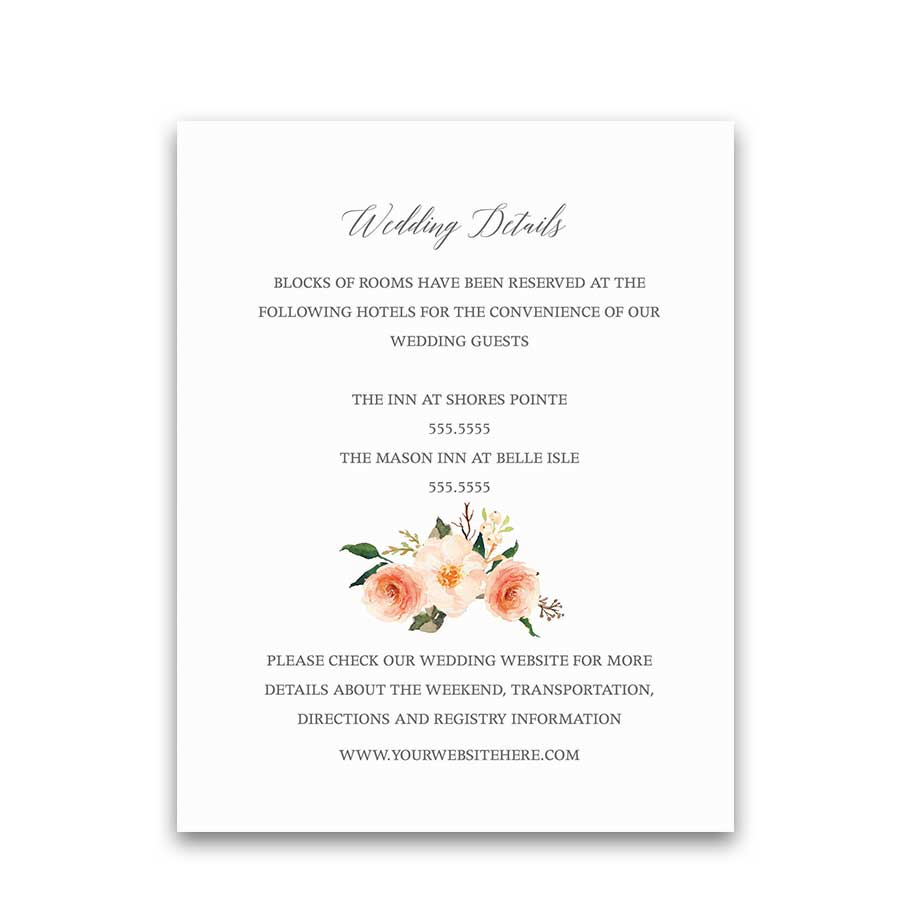 Wedding Detail Insert Cards Coral Peach Floral Greenery