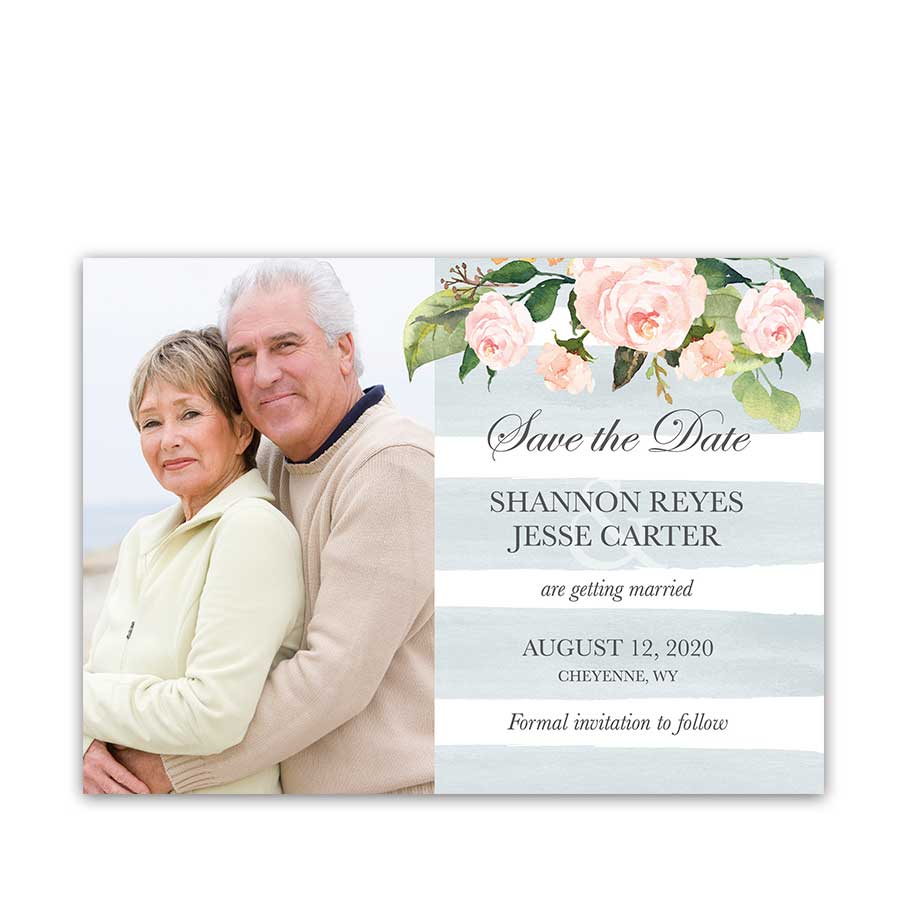 Chic Stripe Save the Date Card Pale Blue Watercolor Floral