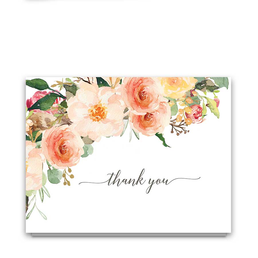 Floral Wedding Thank You Cards Peach Watercolor Flowers