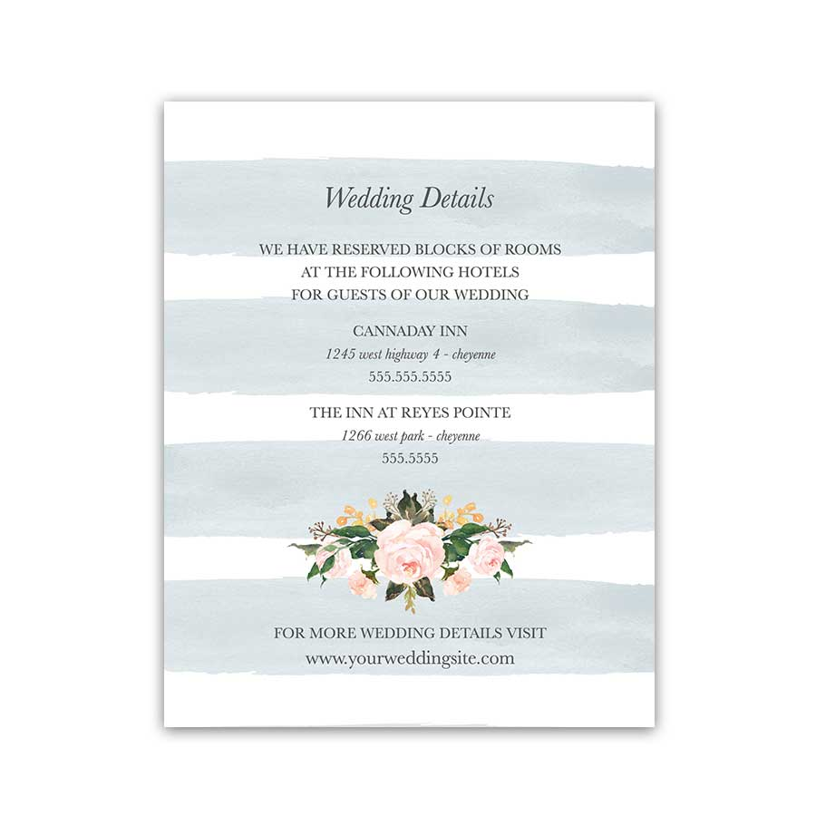 Additional Information Cards Modern Pale Blue Wedding Insert