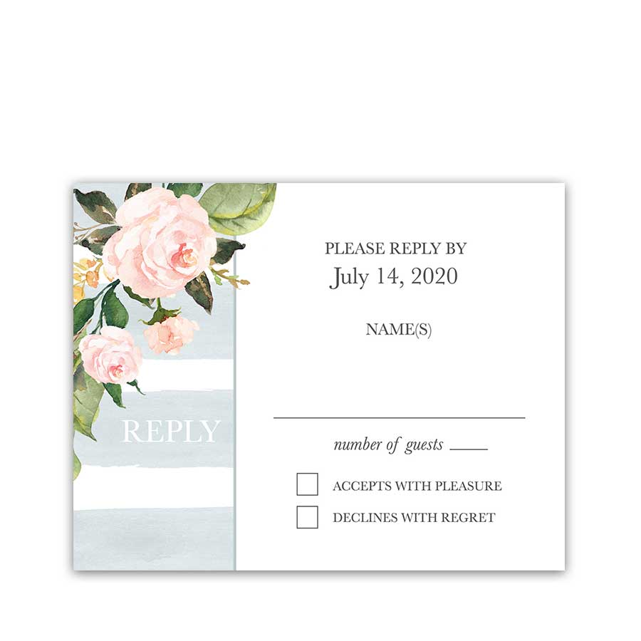 Wedding RSVP Card Watercolor Stripe Pale Blue Floral