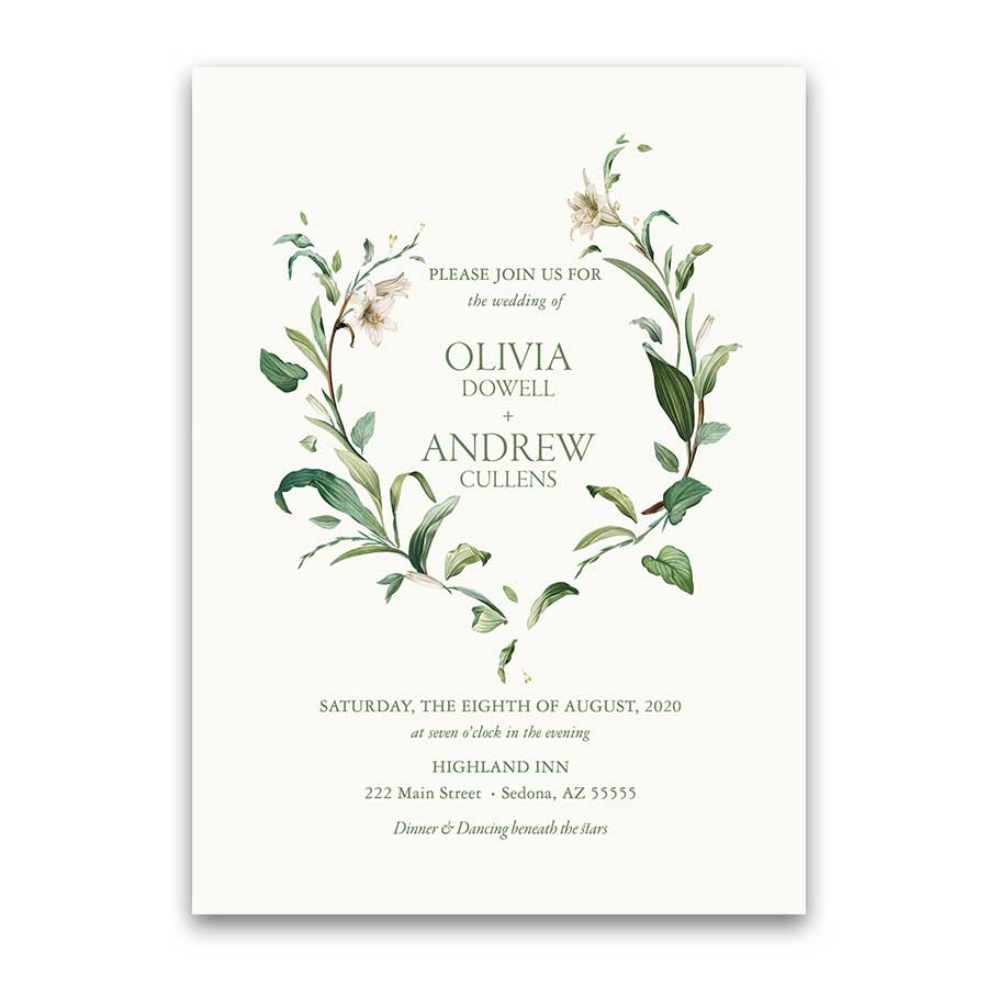Greenery Wedding Invitation Floral Wreath Bohemian Chic