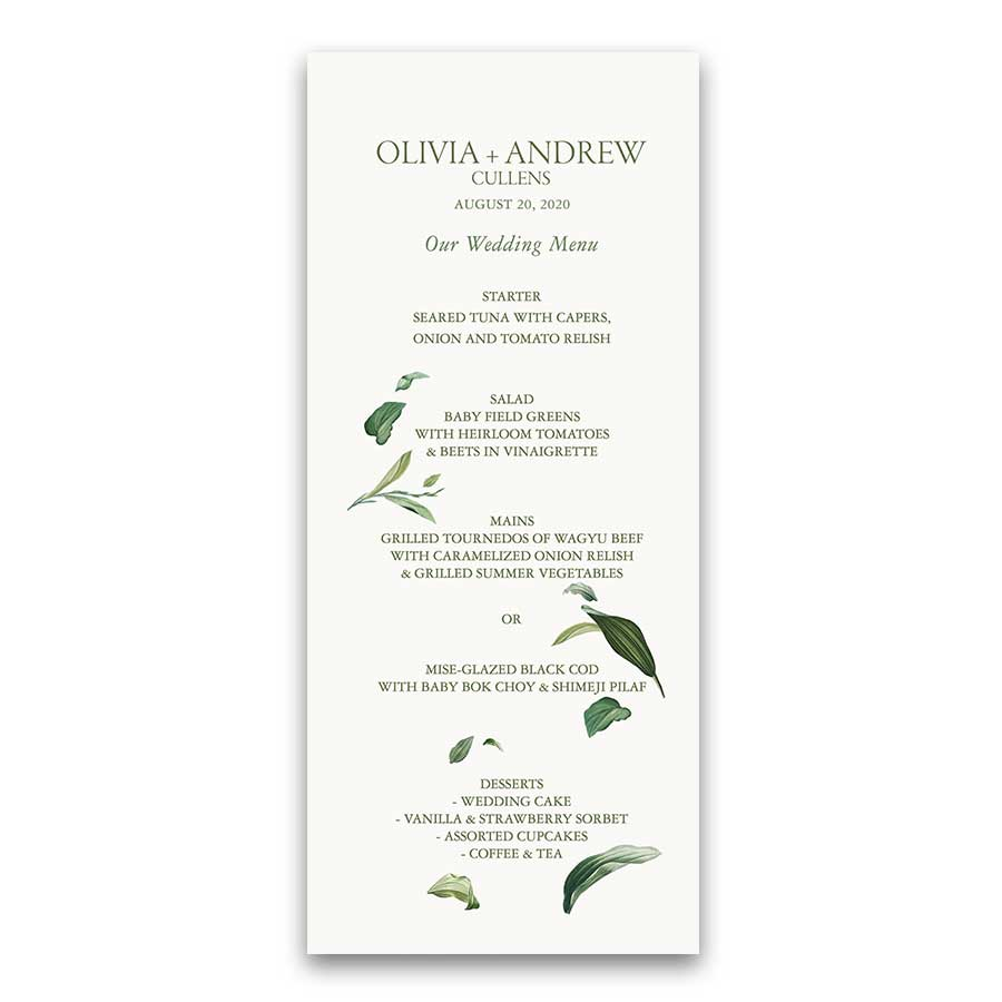 Custom Wedding Menu Modern Watercolor Greenery