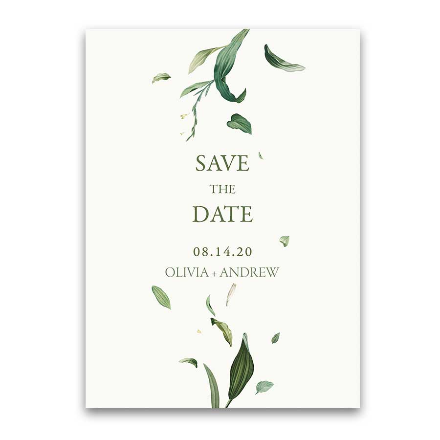 Greenery Wedding Save the Date Cards Floral Wreath Bohemian