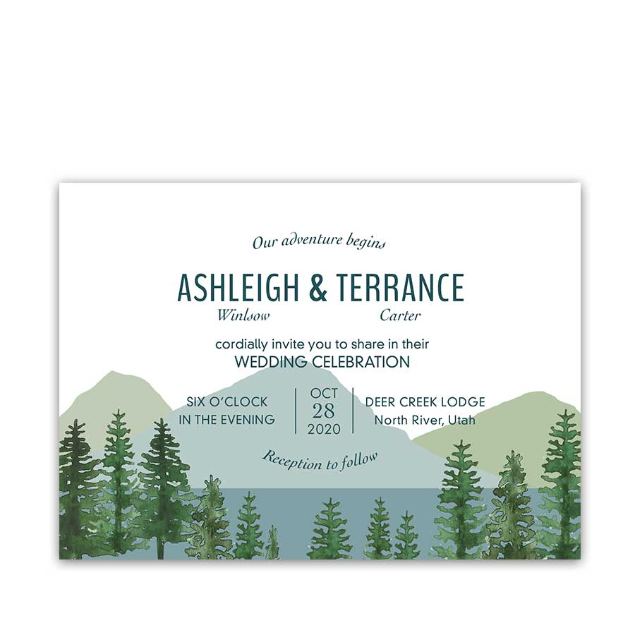Mountain Wedding Invitations Outdoor Adventure Wedding