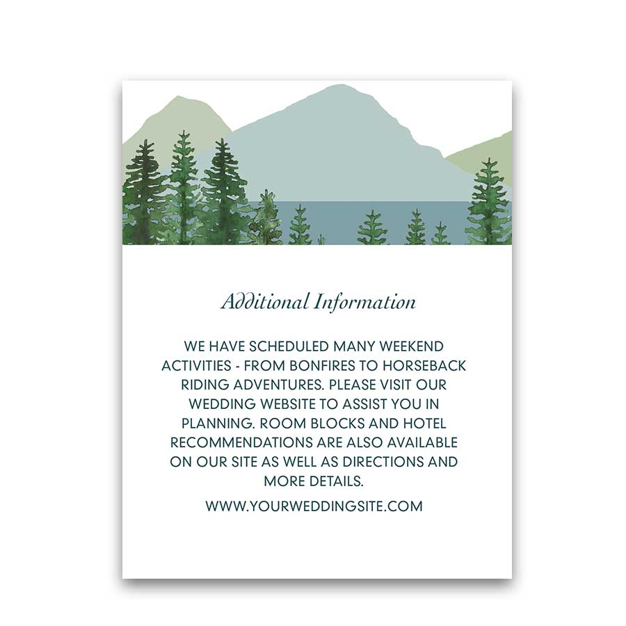 Mountain Wedding Additional Details Information Cards