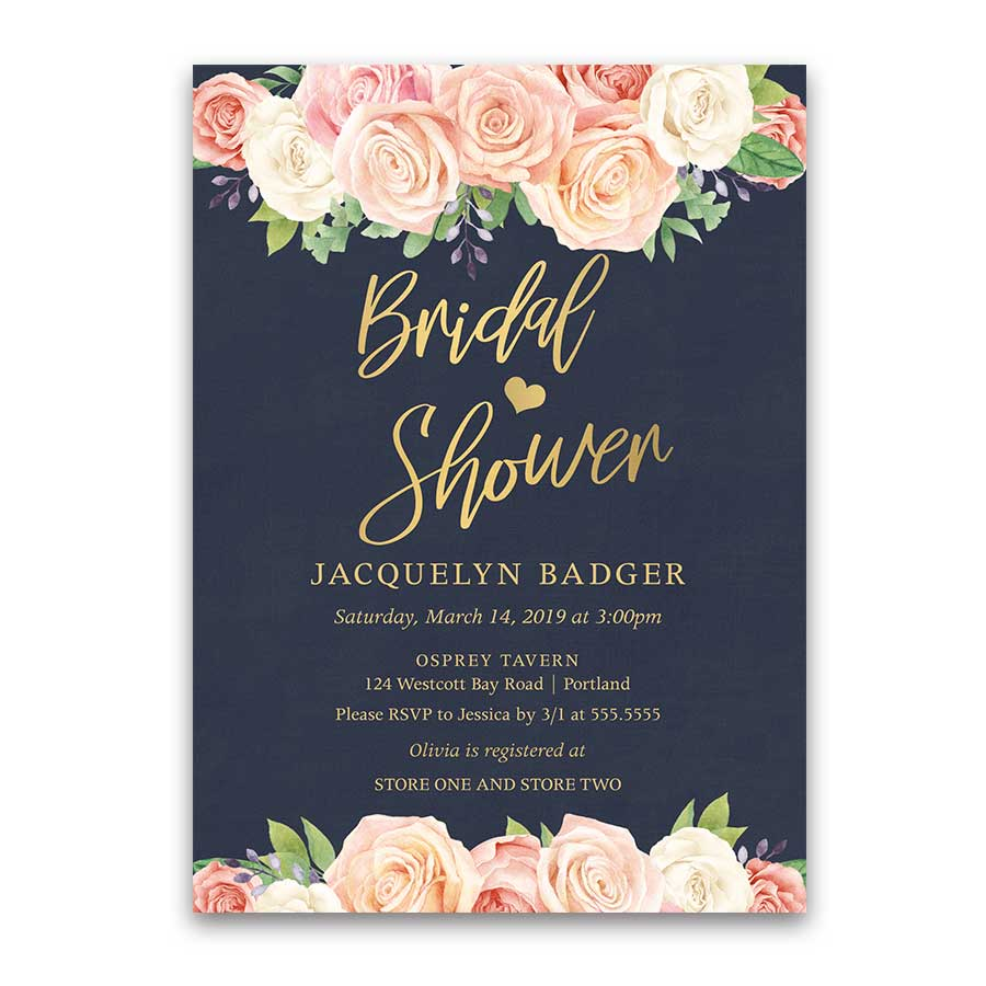 Bridal Shower Brunch Invitation Watercolor Gold Navy Blue Floral