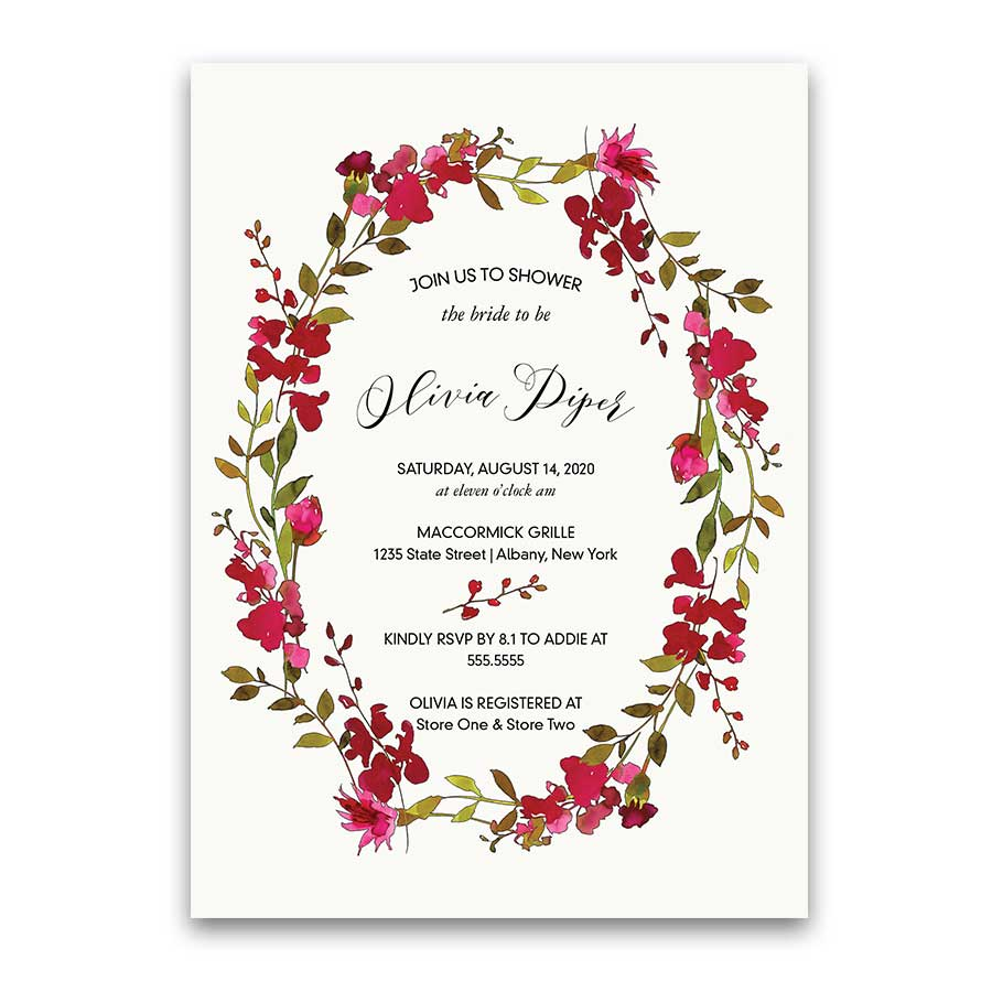 Boho Bridal Shower Invitation Wine Red Floral Script Calligraphy