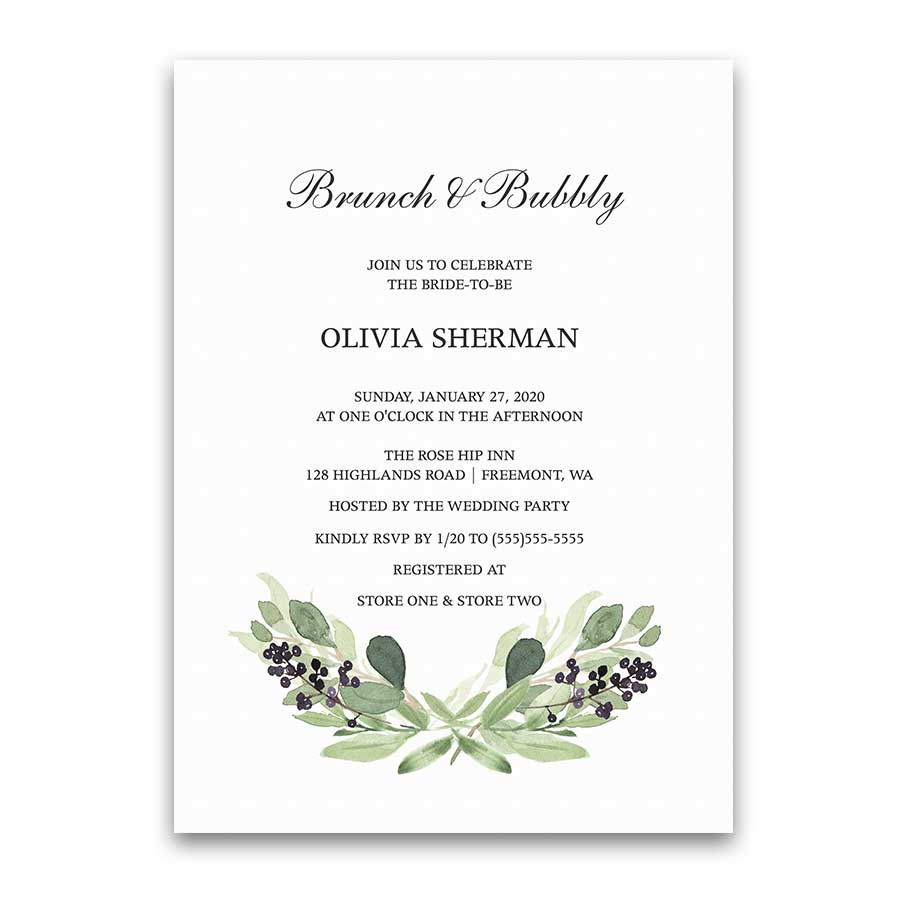 Brunch and Bubbly Greenery Purple Bridal Shower Invitation