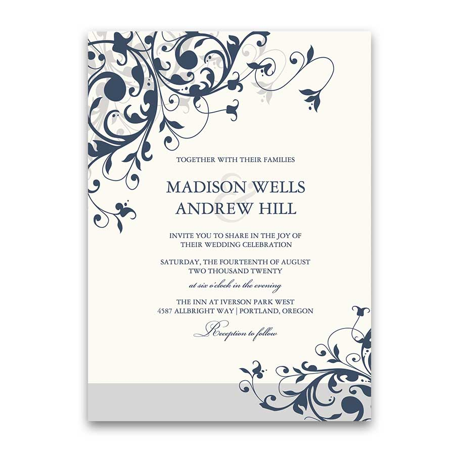 Elegant Floral Swirls Wedding Invitation Colors Optional