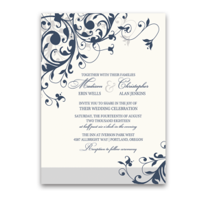 Taylor Suite Navy Blue Floral Swirls Wedding Invitation