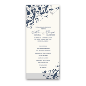 Taylor Suite Wedding Programs Navy Blue Floral Swirls