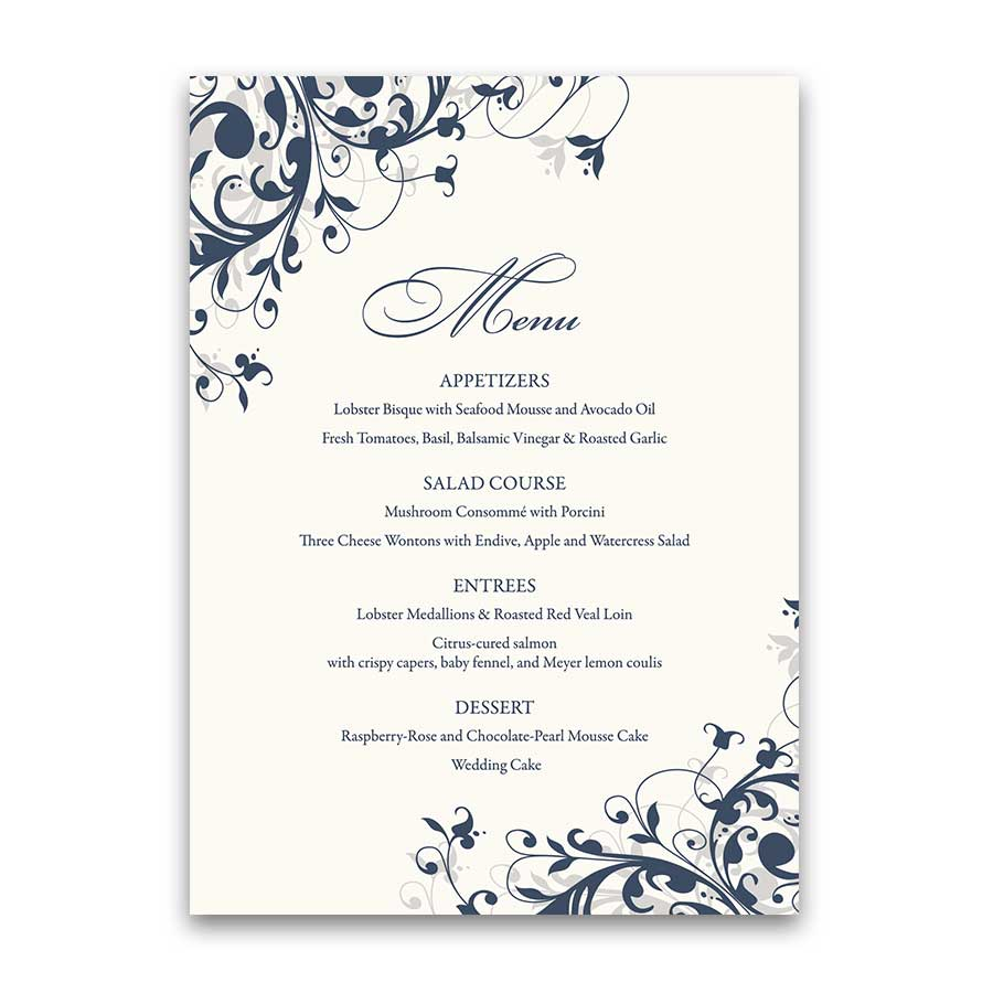 Floral Swirls Wedding Menu Navy Blue with Colors Optional