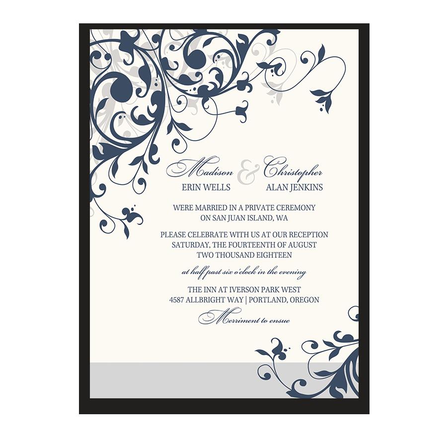 wedding reception only invitation navy blue floral