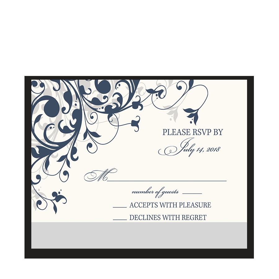Taylor Suite RSVP Cards Navy Blue Floral Swirls