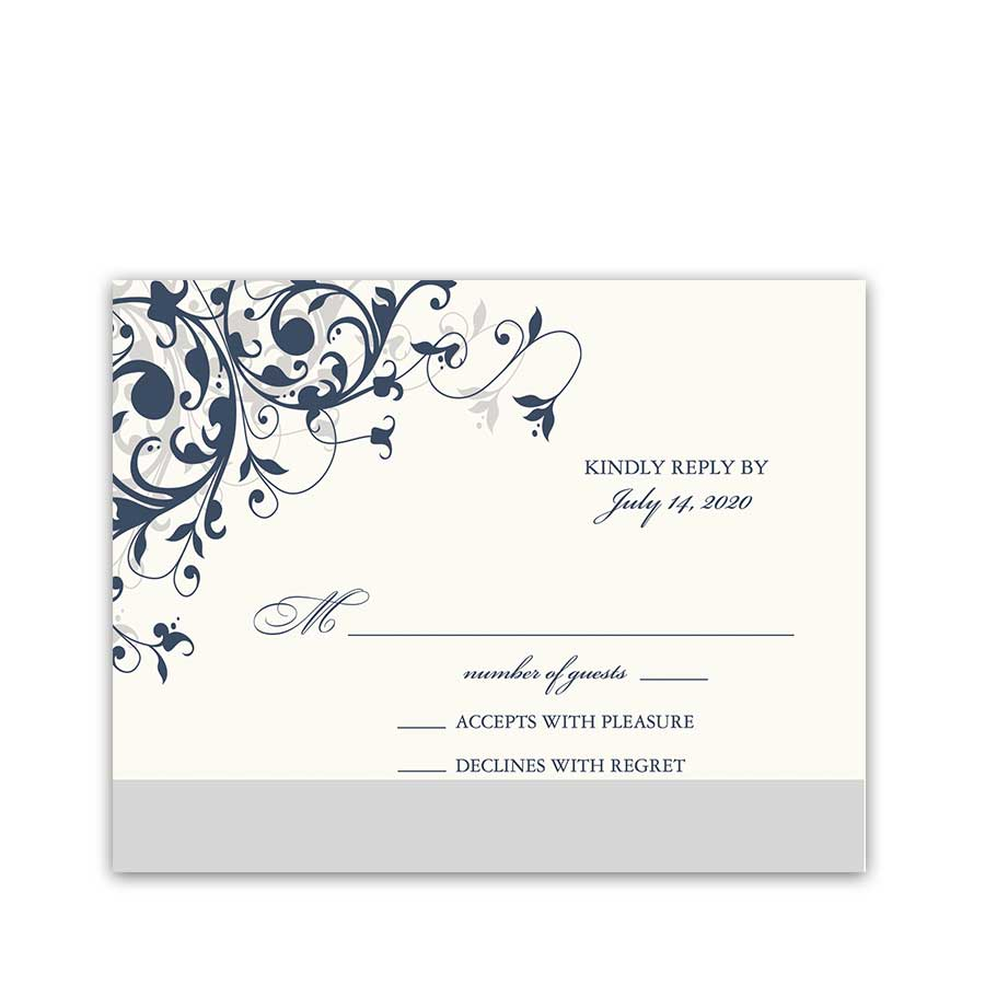 Elegant Scroll RSVP Cards Navy Blue Floral Color Optional