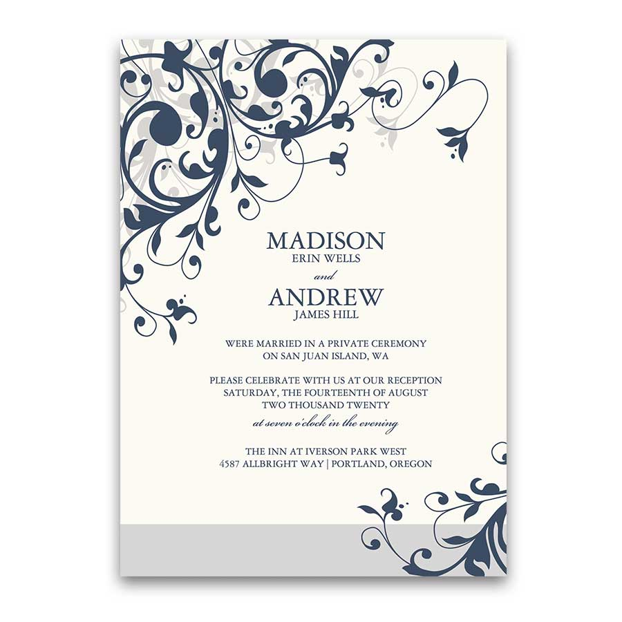 Wedding Reception Only Invitation Elegant Swirls