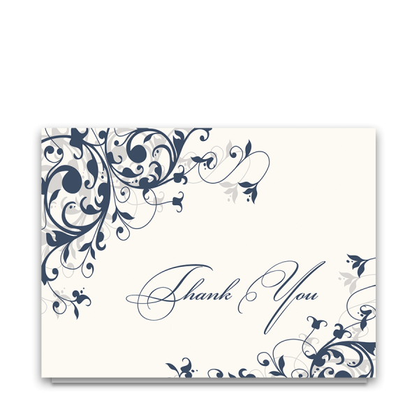 Navy Blue Floral Swirls Wedding Thank You Cards