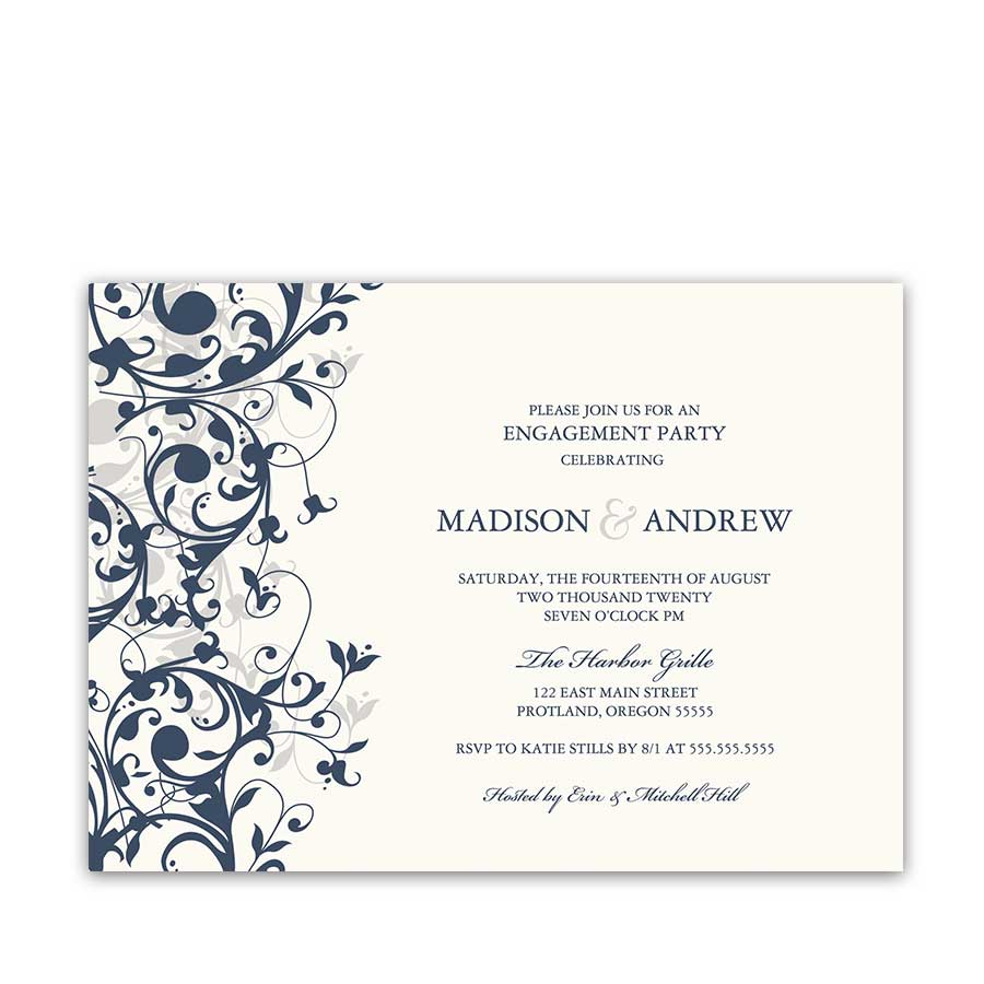 Elegant Engagement Party Invite Navy Blue Floral Swirls