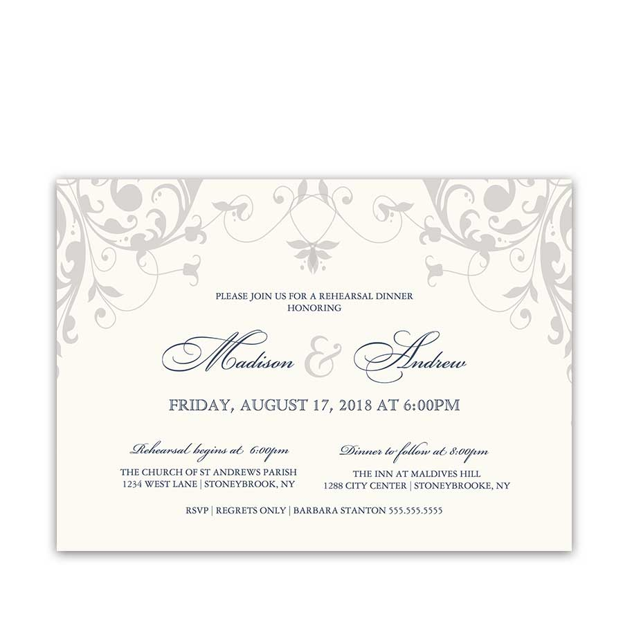 Elegant Floral Rehearsal Dinner Invitation Navy Color Options