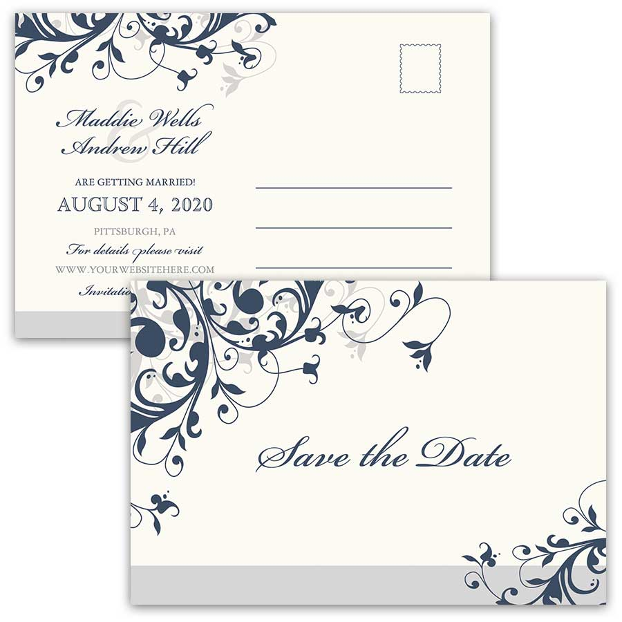 Elegant Save The Date Postcard Navy Blue Floral Swirls Color Options