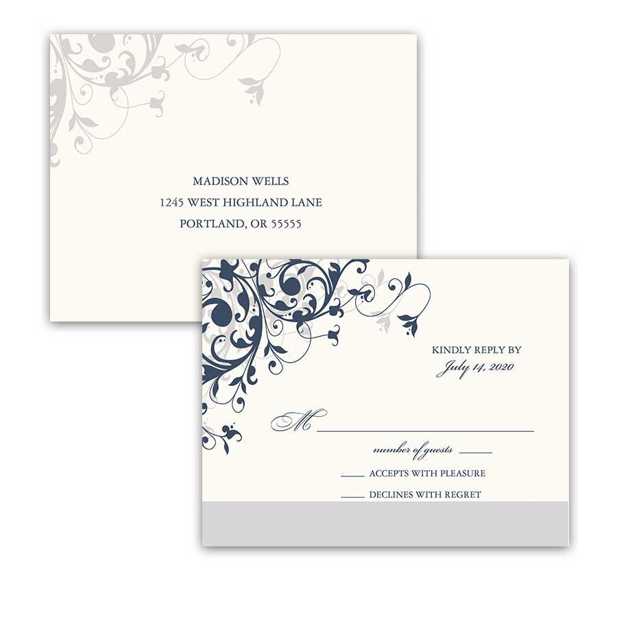 Taylor Suite RSVP PostcardNavy Blue Floral Swirls