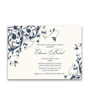 Taylor Suite Bridal Shower Invitation Navy Blue Floral