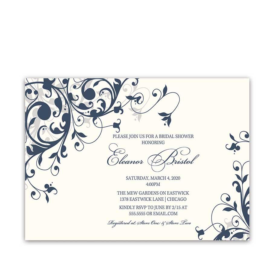 Navy Blue Floral Bridal Shower Invitation Elegant Script Font