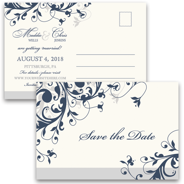 Taylor Suite Save The Date Postcard Navy Blue Floral Swirls