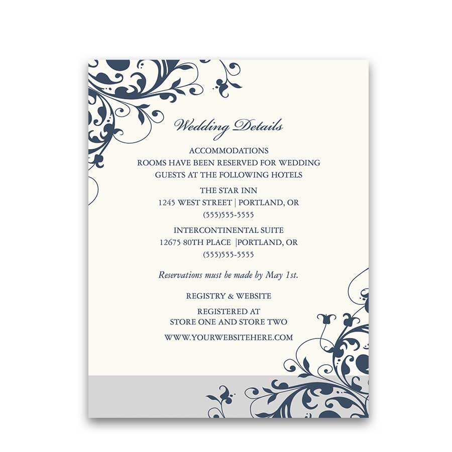 Elegant Floral Swirls Wedding Additional Information Card