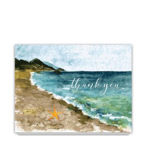 Beach Theme Wedding Folded Thank You Note Card
