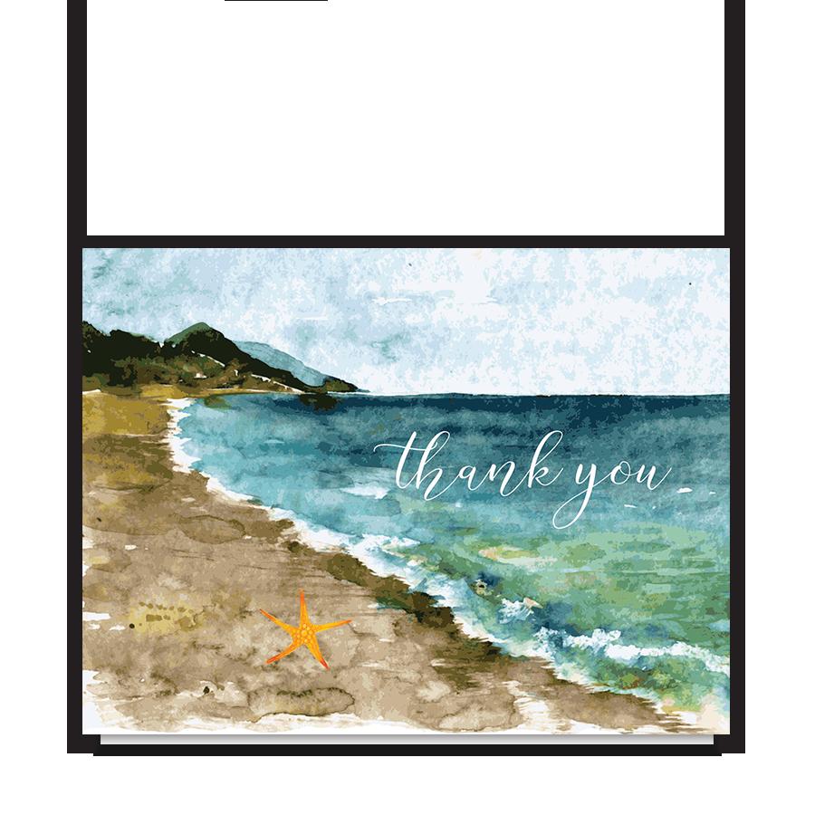 Beach Theme Wedding Folded Thank You Note Card