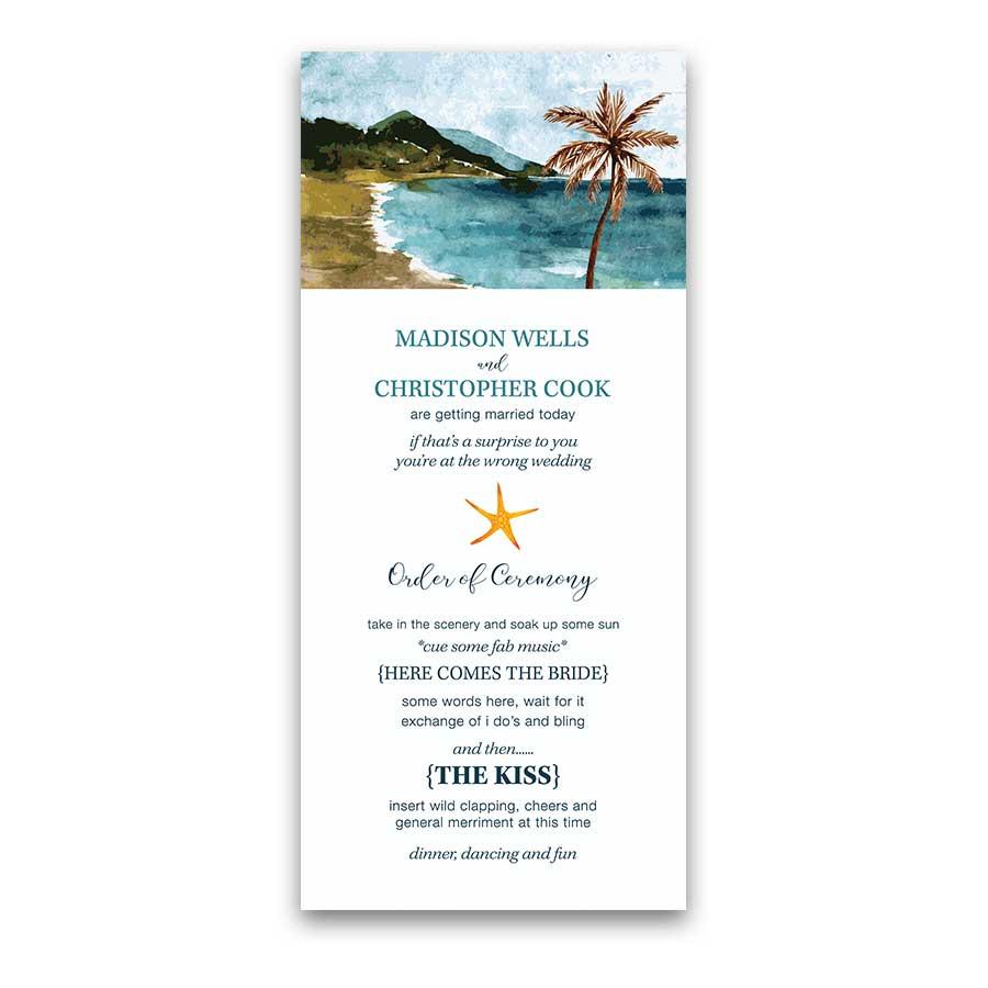 Beach Wedding Program Template Casual Ocean Ceremony