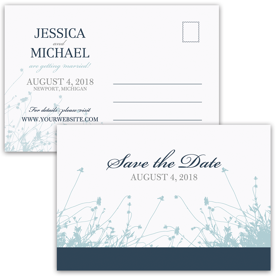 Floral Save the Date Postcard Navy Pale Blue Wildflower