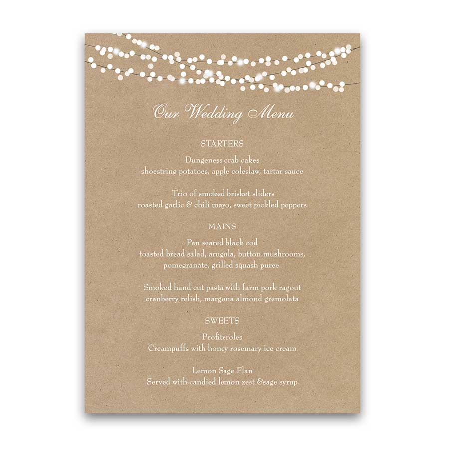 Rustic Wedding Menu Template String Lights Kraft Paper