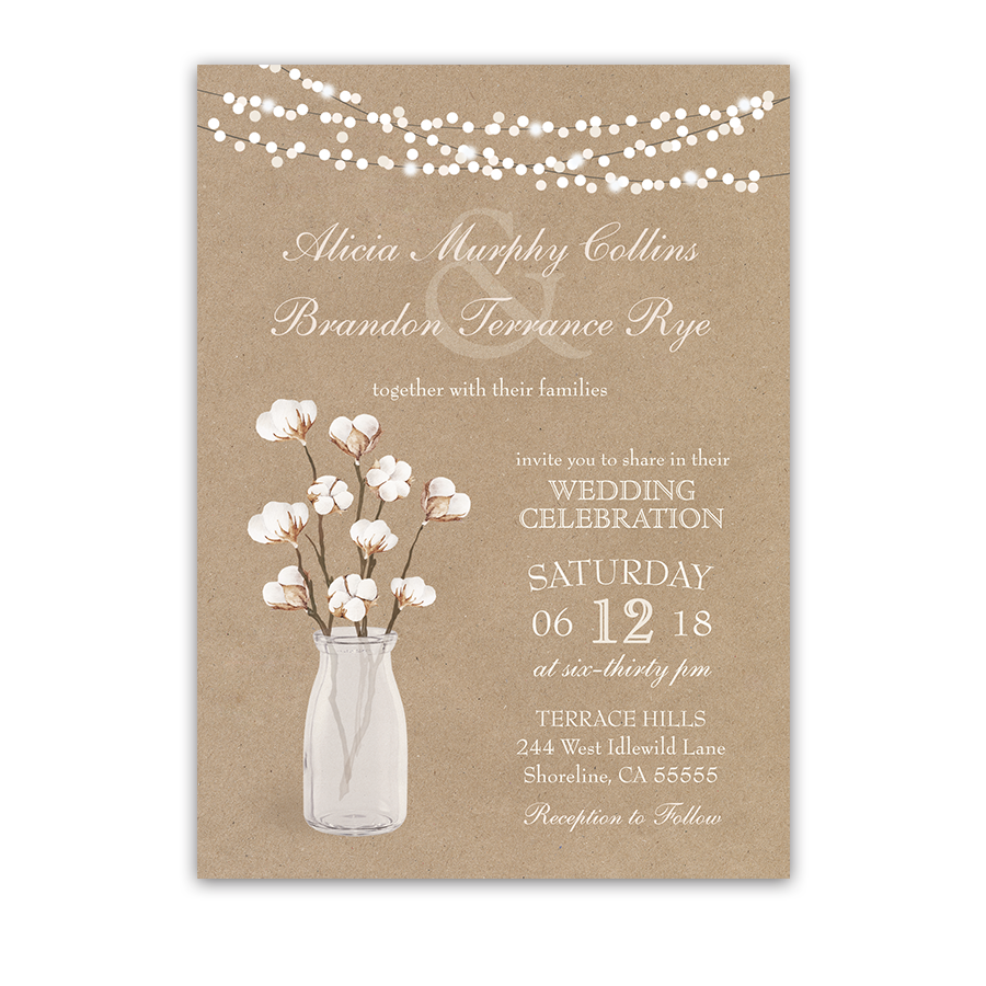 Where To Buy Wedding Invitation Paper: Rustic Kraft Paper Wedding Invitation Cotton Branches