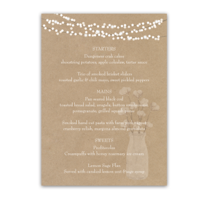Rustic Kraft Paper Wedding Menu Cotton Theme