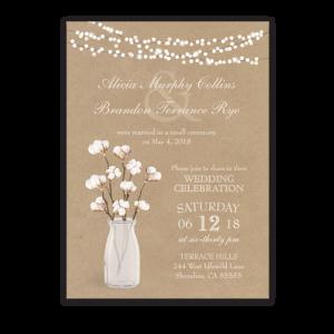 Rustic Cotton Theme Wedding Reception Only Invitation
