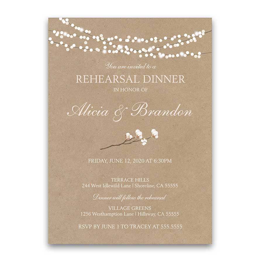 Rustic Cotton Kraft Paper Rehearsal Dinner Invitation