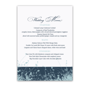 Navy Blue Wedding Menu Floral Wildflowers